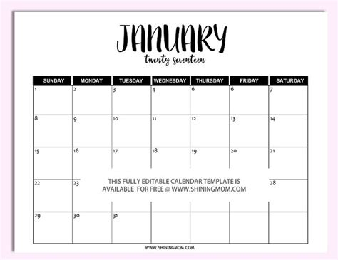printable fully editable  calendar templates  word format  calendar template
