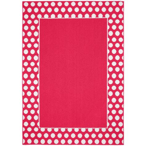 Polka Dot Area Rug Garland Rug Polka Dot Frame Pink White 5 Ft X 7 Ft Area Rug Ll470a06008481 The Home Depot