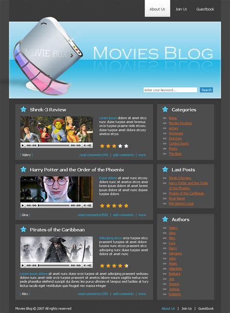 templates for movie website templatesflow com first in industry launched a new product