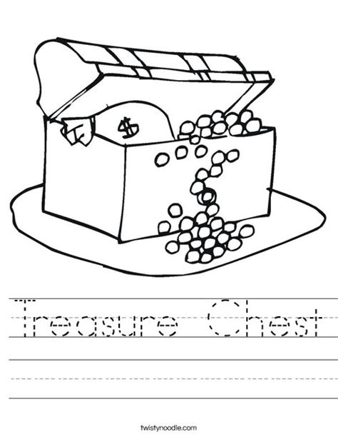 coloring page treasure chest treasure chest worksheet twisty noodle