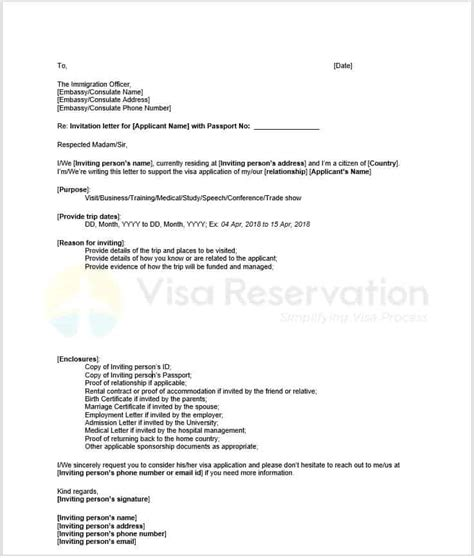 invitation letter for visitor visa uk template invitation letter for schengen visa letter of invitation
