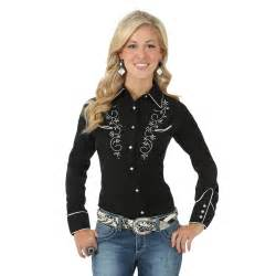 wrangler women s western tops long sleeve twill solid