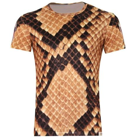 new pattern of t shirt animal super cobra snake skin pattern two side print man