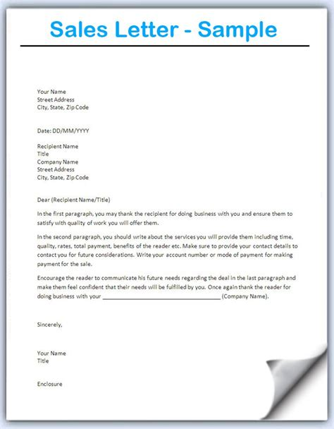 sle of formal love letter sales letter template writing professional letters