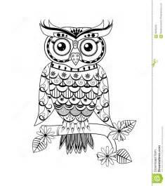 zentangle owl black white stock illustration image 59255233