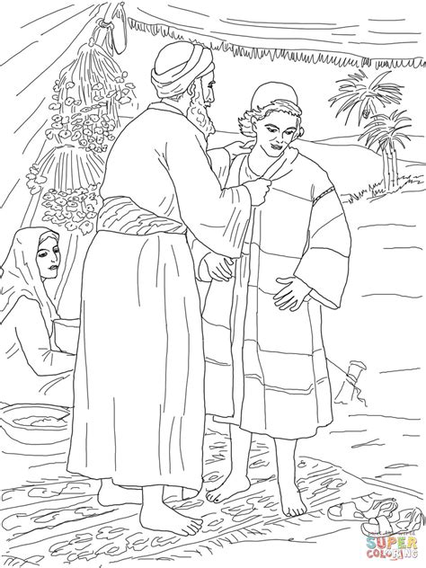 free coloring pages joseph coat many colors jacob giving joseph the coat of many colors coloring page