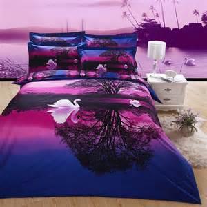 Queen Black Comforter Set Purple And Blue Swan Lake Print Jungle Safari Themed