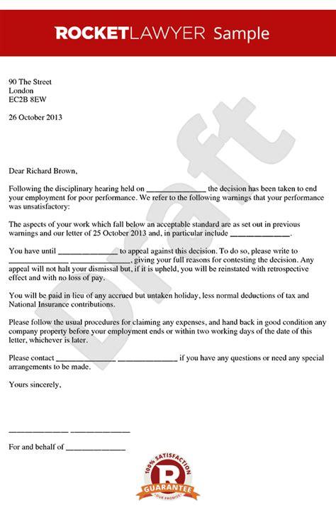 dismissal letter poor performance poor performance