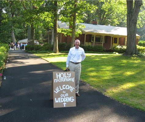 front yard signs real weddings sherry and s backyard diy wedding