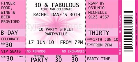 concert ticket invitations template free birthday ideas il