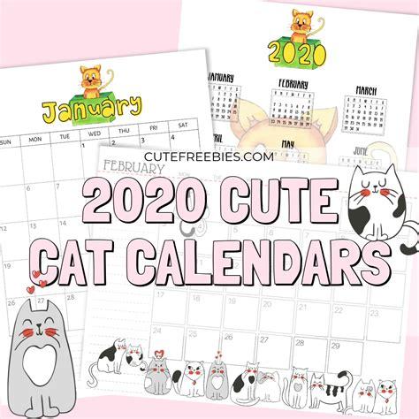 cat calendar printable  cute freebies