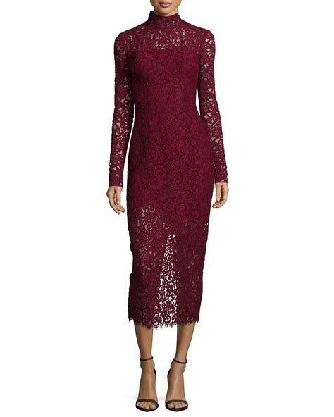 Lace Midi Cocktail Dress lyst lhuillier sleeve lace midi cocktail
