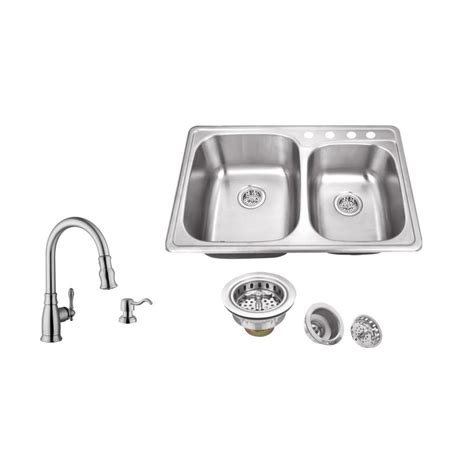 4 kitchen sink faucet ipt sink company drop in 33 in 4 stainless steel kitchen sink in brushed stainless with