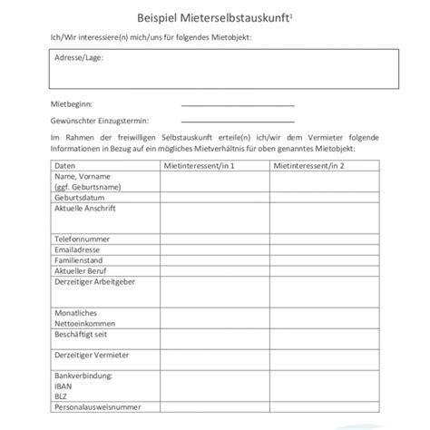 Selbstauskunft Vermieter by Selbstauskunft Pdf Die Selbstauskunft F 252 R Deine Wohnungssuche