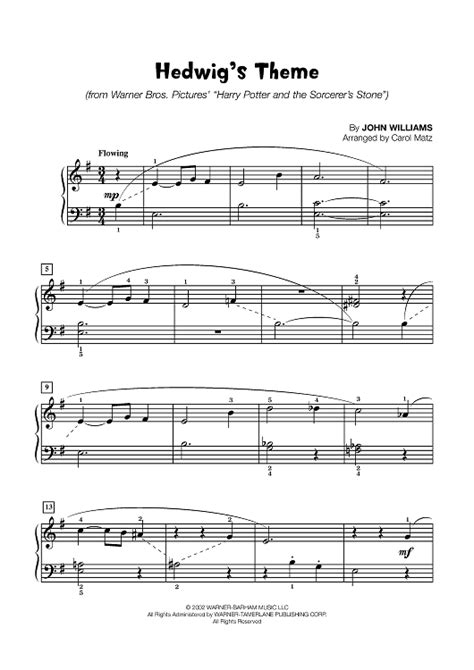 Theme Music Elementary | hedwig s theme late elementary piano sheet music for