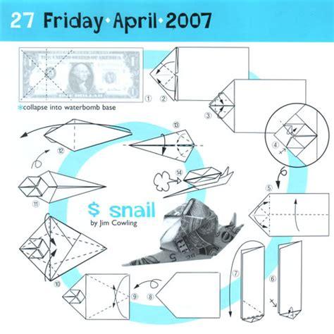 Dollar Origami Diagrams - origami snail ori got me folding origami