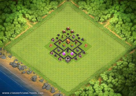 layout coc town hall level 4 best town hall level 4 defense th4 trophies base by