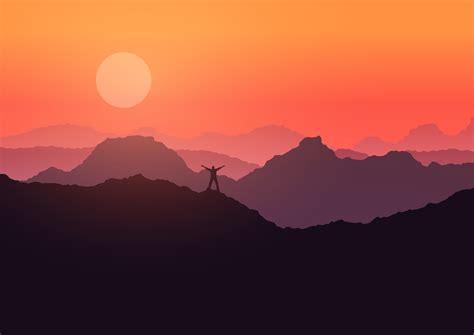 man stood  mountain landscape  sunset