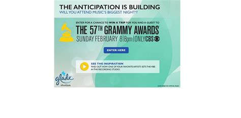 Cbs Grammy Sweepstakes - glade s celebrate at the grammy s sweepstakes will you attend music s biggest