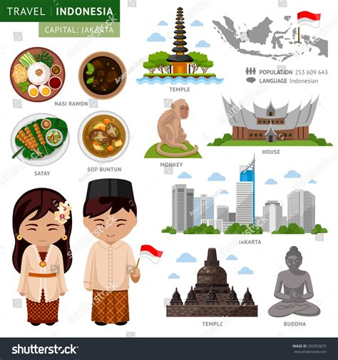 indonesia travel pattern travel indonesia bali set traditional cultural stock