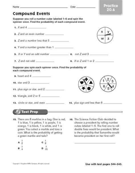 Compound Probability Worksheet by Probability Of Compound Events Worksheet Lesupercoin Printables Worksheets