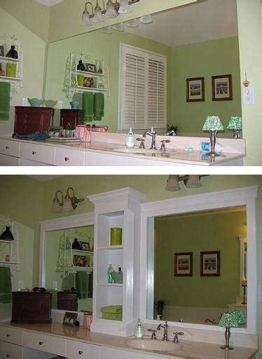 add trim to bathroom mirror update a plain bathroom mirror by adding shelving in the
