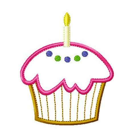 cupcake and cupcake with candle machine embroidery