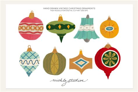 vintage christmas ornament clipart illustrations on