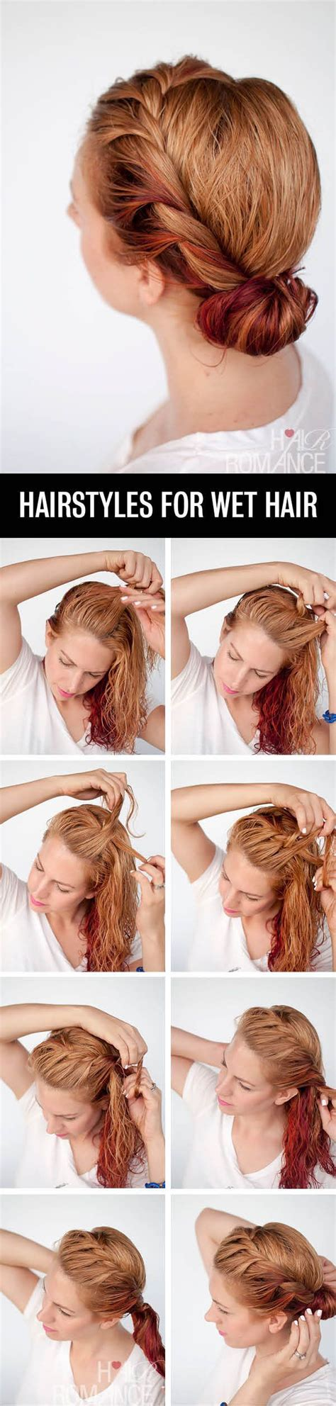 hairstyles when your hair s wet get ready fast with 7 easy hairstyle tutorials for wet