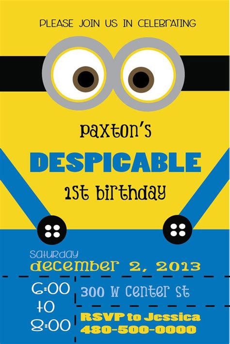 minion card template despicable minion birthday invitation minion birthday despicable minions and birthdays