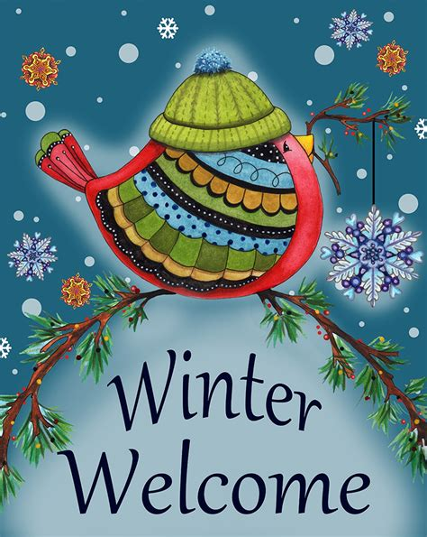 winter welcome bird garden flag decorative winter by - Winter Garden Flag