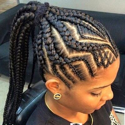 alternating fat and skinny cornrow hairstyles zig zagged pattern fat cornrows new2natural hair care