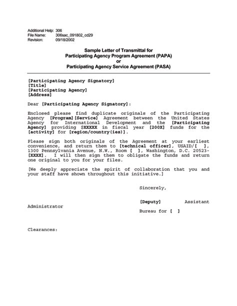 Letter Of Agency Agreement Ads Reference 306sac U S Agency For International Development