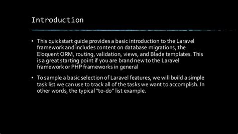 laravel tutorial quickstart laravel tutorial ppt