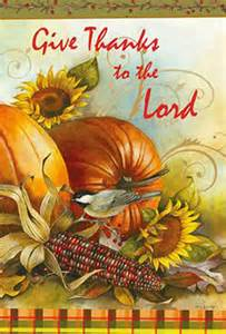 give thanks to the lord fall garden flag thanksgiving