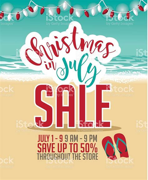christmas in july christmas in july sale marketing template stock vector art