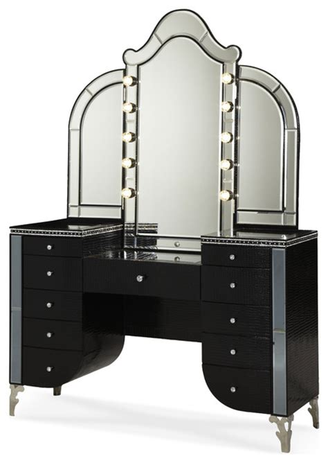 Vanity Desks With Mirror by Swank Starry Upholstered Vanity With
