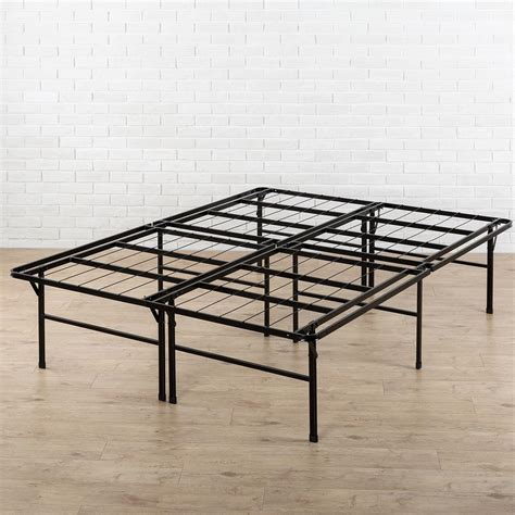 queen metal bed frames zinus high profile smartbase queen metal bed frame hd sb13 18q the home depot