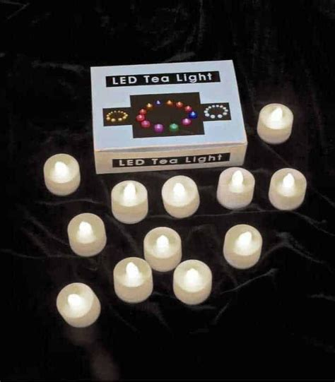 set of 12 warm white led tealights for luminaries