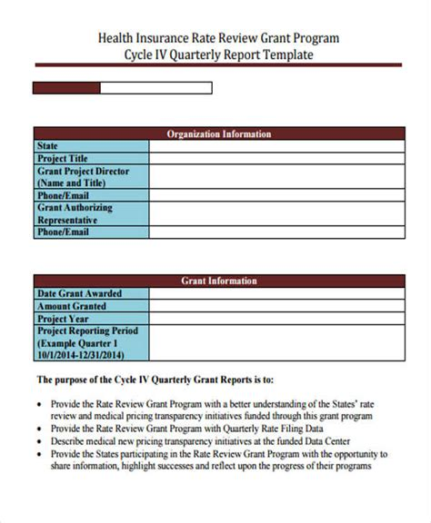 6 Grant Report Templates Free Word Pdf Format Download Free Premium Templates Quarterly Report Template