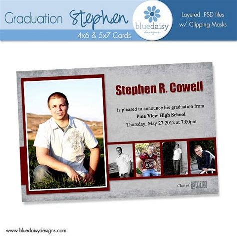 senior templates for photoshop free 4x6 5x7 graduation announcement stephen photoshop