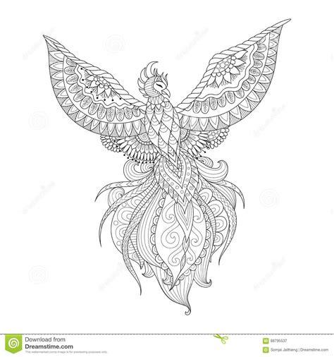 zendoodle design of phoenix bird for tattoo t shirt