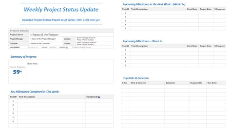 weekly project status update template analysistabs