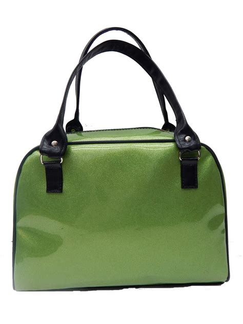 Ut1402 Glossy Green Handbag handbag shoulder bag with shiny glossy shimmering green