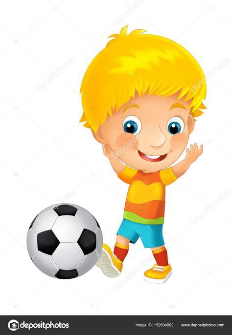 imagenes de niños jugando futbol animados ni 241 o de dibujos animados jugando al f 250 tbol foto de stock