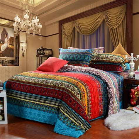 indian comforter sets aqua blue and garnet red vintage boho style exotic indian pattern multi color stripe print full