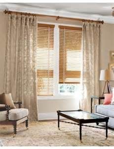 Curtains On Windows With Blinds Inspiration Smith Noble 2 Quot Wood Blinds In Honey Oak 4484 Soft Top Drapery In Embroidered Fern