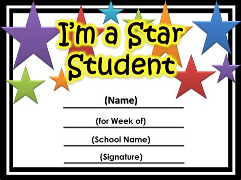 student of the week certificate template of the week certificate printable printable
