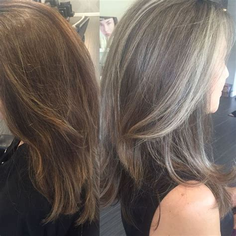 transitioning to gray hair with lowlights transitioning from colored hair to silver grey hair