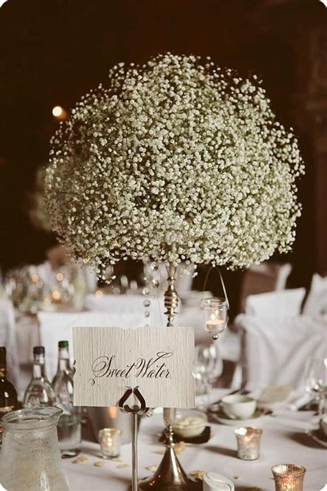 inexpensive wedding table centerpieces 16 centro de mesa con gypshophilia centros de mesa altos centre pieces mesas